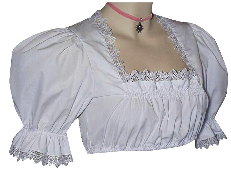 Gr.34-50 Dirndlbluse Spitzenbluse Dirndl-Bluse Tracht Spitzen Trachtenbluse weiß
