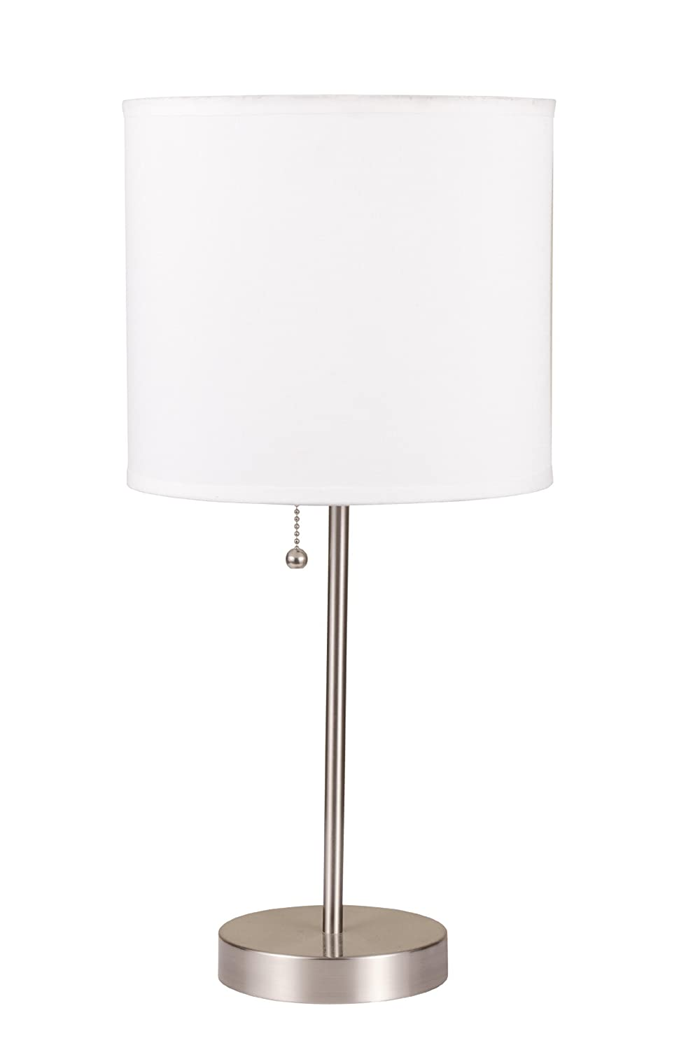 "19""H White Brush Steel Table Lamp with Pull Switch- 8312D"