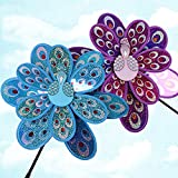Techinal 1 Pcs Windmills Decorative, Double Layer Peacock Sequins Windmill Colorful Wind Spinner Kids Toy Home Garden Decor ( Blue )