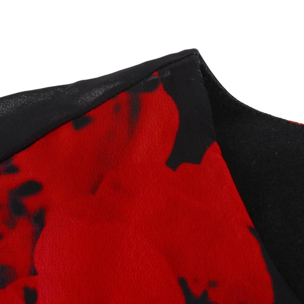 XL, Purple Balakie Fashion Womens Casual Plus Size Rose Flower Print Chiffon Round Neck Ruffles Dresses Mini Dress
