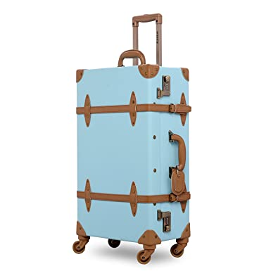 Amazon.com | Unitravel Suitcase Vintage Luggage with Spinner ...