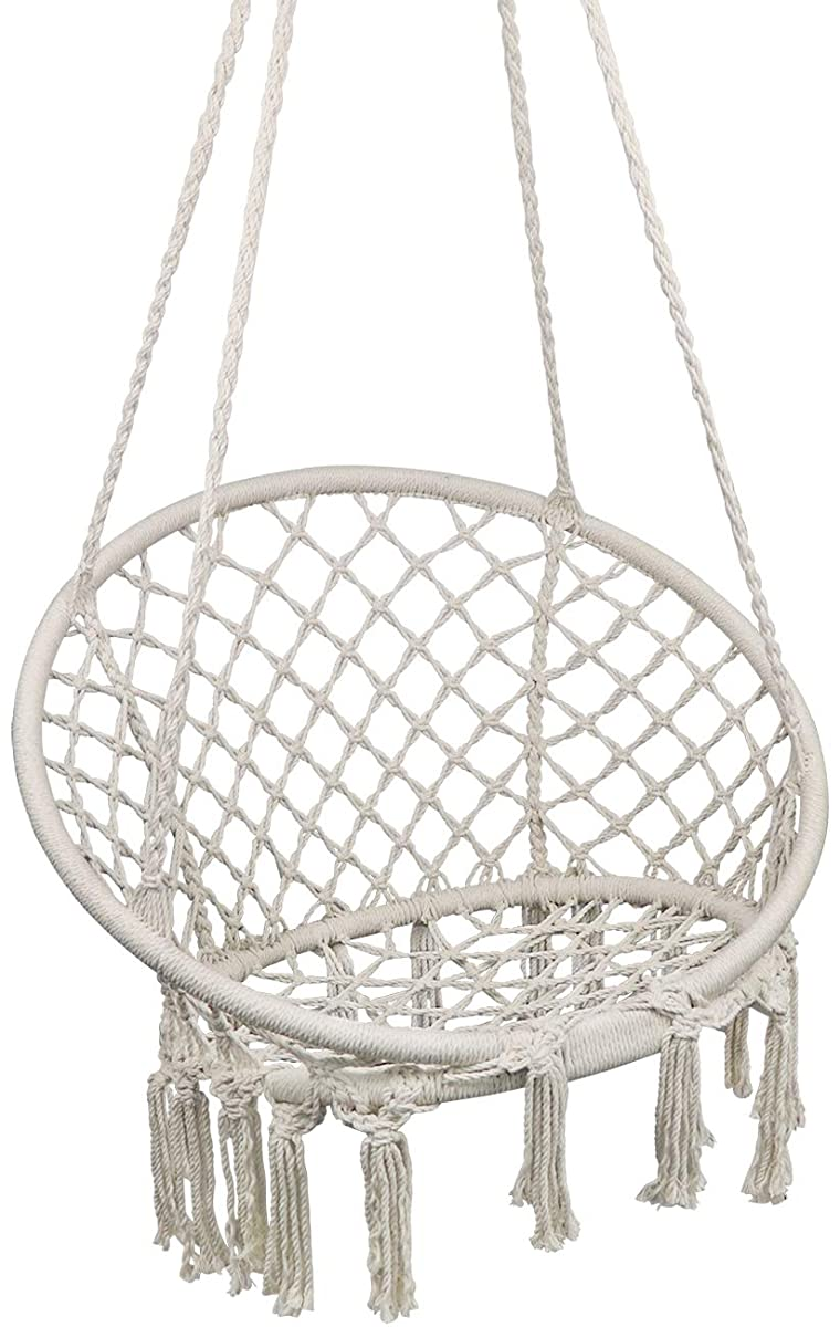 Hammock Chair Macrame Swing, Hanging Chair for Reading/Leisure, 330 Pound Capacity, Perfect for Indoor/Outdoor Home, Garden, Deck, Yard