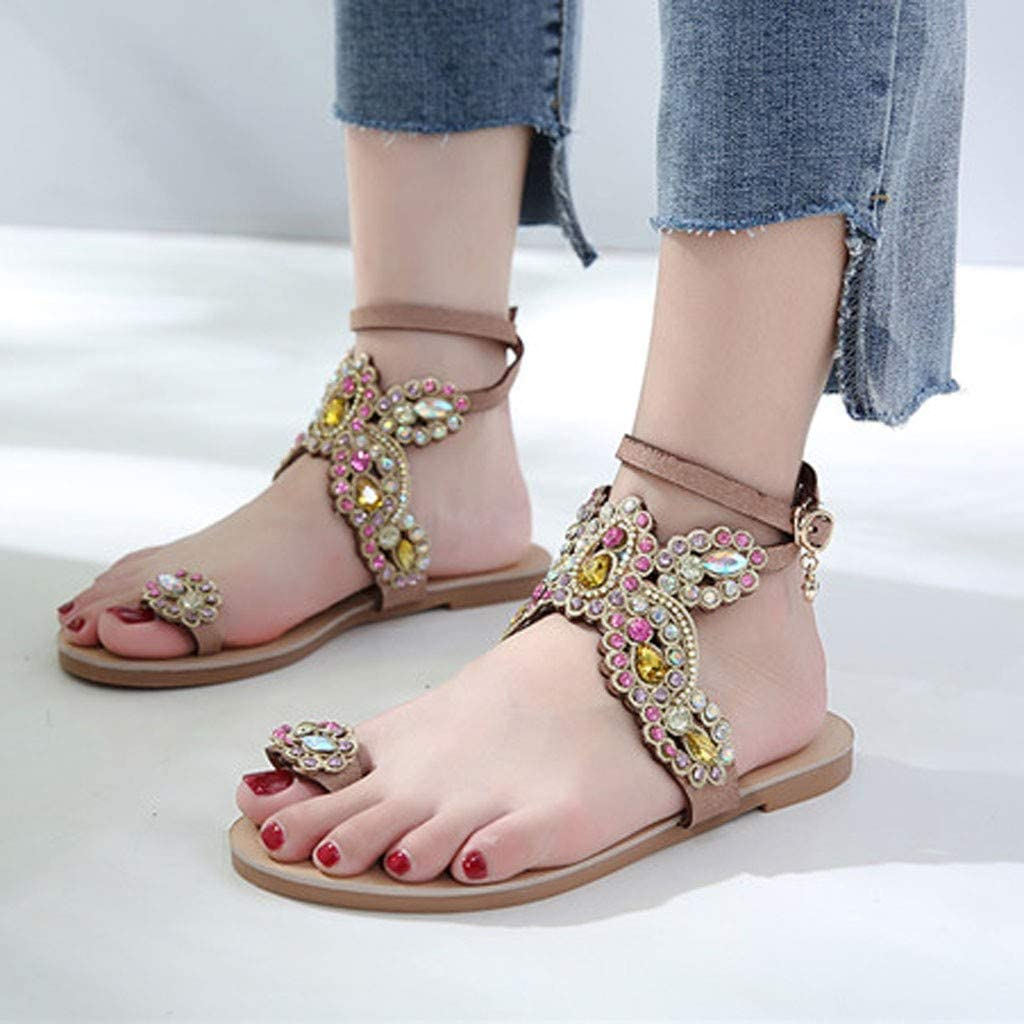 Kiminana Women Open Toe Breathable Beach Buckle Strap Sandals Rome Casual Flat Shoes