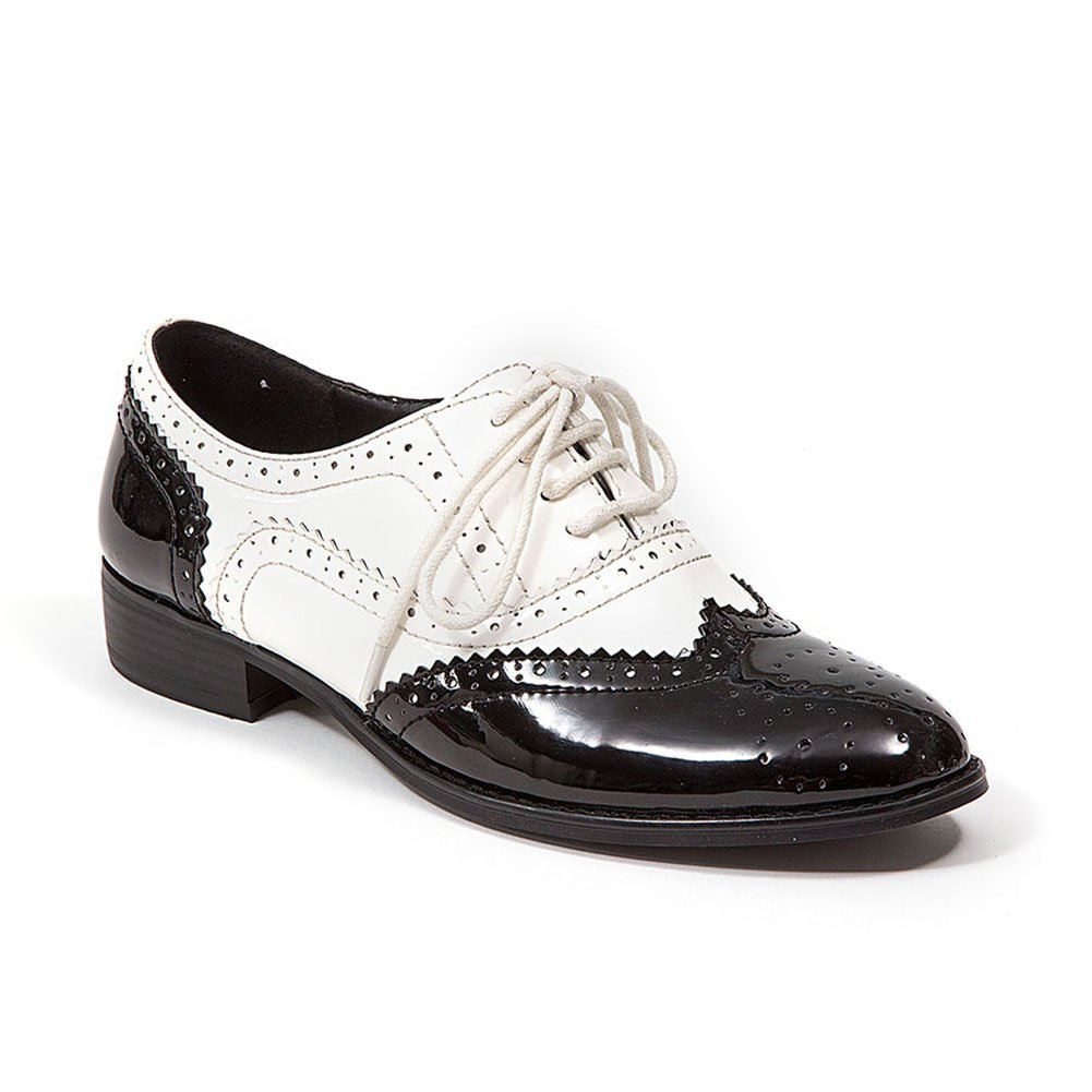 retro saddle shoes black white two toned oxford shoes