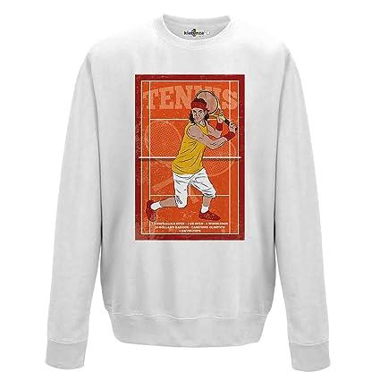 KiarenzaFD Sudadera Cuello Redondo Hombre Tenis Vintage Rafa Champion Nadal Streetwear, XKFGA01760_S, Arctic White