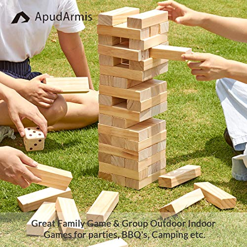 ApudArmis Giant Tumble Tower (Stack from 2Ft to Over 4.2Ft), 54 PCS Pine Wooden Stacking Timber Game with 1 Dice Set…