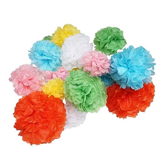pompones de papel, Tissue Paper Pompoms, 18Pcs Mixed Colors ...