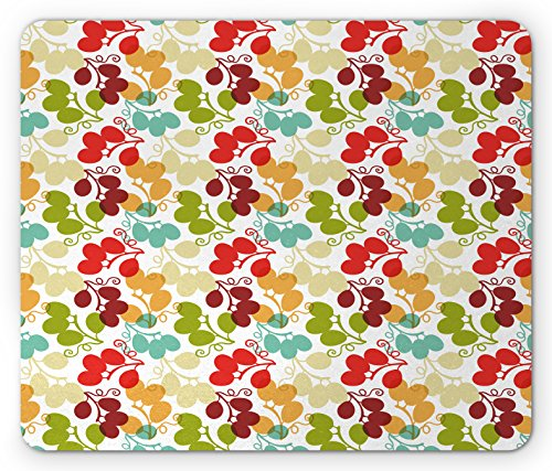 (Lunarable Vineyard Mouse Pad, Mix of Swirled Bunch of Grapes Icon Kid Theme Sweet Blend Exotic Flavor Design, Standard Size Rectangle Non-Slip Rubber Mousepad, Multicolor)