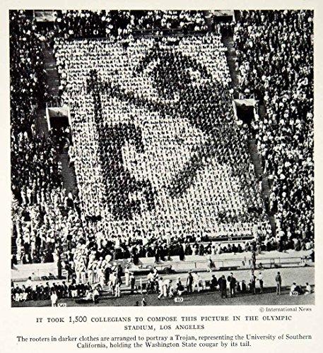 1934 Print Los Angeles Olympics Crowd Image Stadium Historical View Sport NGMA6 - Original Halftone Print