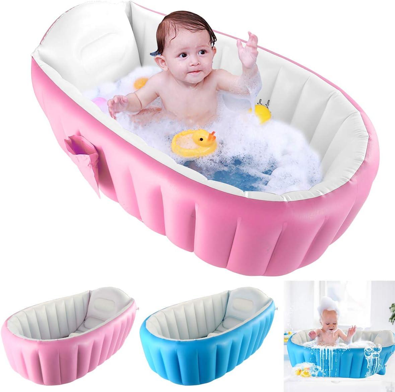 DaMohony faltbare Badewanne f/ür Neugeborene aufblasbare Babywanne tragbar Mini Luftpool Dusche f/ür 0-3 Jahre blau