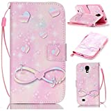 S4 Mini Case,Galaxy S4 Mini Case,I Love You Pattern Wallet Pouch Case Cover With Fold Up Kickstand and Detachable Wrist Strap for Samsung Galaxy S4 Mini