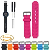 Garmin Forerunner Series Smart Watch Replacement Band, iFeeker Air Hole Style Soft Silicone Strap Replacement Watch Band With Free Installation Tools and Lugs Adapters Common Designed for Garmin Forerunner 220/230/235/630/620/735XT Accessories Sports GPS Running Watch Strap (Rose Red)