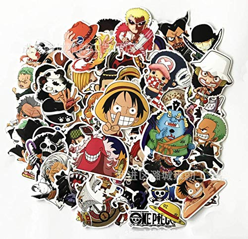 One Piece Anime Cartoon Laptop Stickers - AG Goodies Waterproof Skateboard Pad Macbook Car Snowboard Bicycle Luggage Decor (60pcs)]()