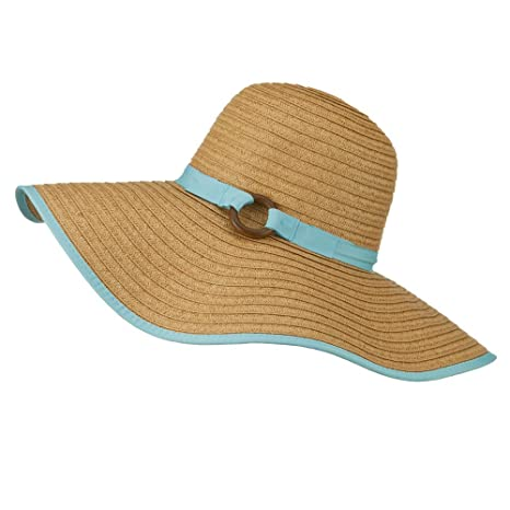 4b0f132a8 Big Floppy Hat with Coconut Ring Band - Blue OSFM