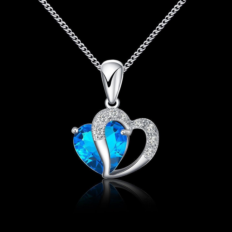 anewish Damen Blau Herz Kristall mit Silber Herz Anhänger Halskette ...