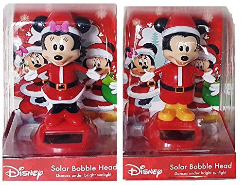 Mickey & Minnie Mouse Christmas Solar Bobble Head -2 Piece Set