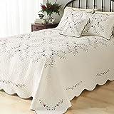 LELVA Oversized Bedspreads Coverlets Set Floral Patchwork Quilt Set Beige Twin 3Pcs (Twin)