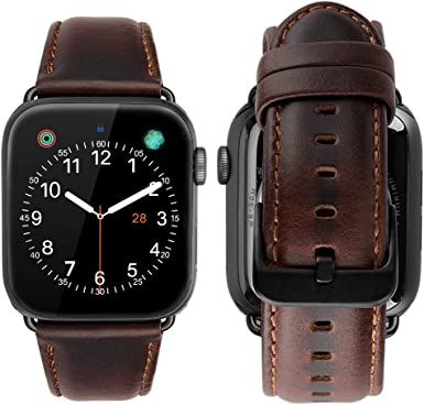 MroTech Compatible iWatch 42mm / 44mm Correa Cuero Pulseras de Repuesto Piel Genuino Banda Reemplazo para iWatch Serie 1 Serie 2 Serie 3 Serie 4 Series 5 Watch Band (42 mm / 44 mm, Café): Amazon.es: Electrónica