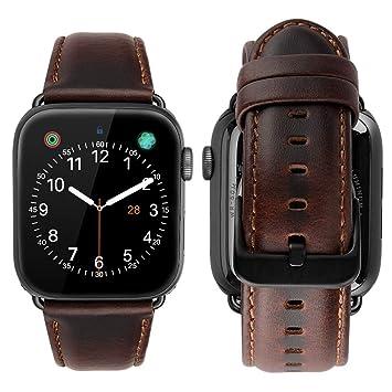 94a4631988f MroTech Compatible pour iWatch Series 4 Bracelet 44mm Cuir Véritable Bande  de Montre Remplacement pour iWatch ...