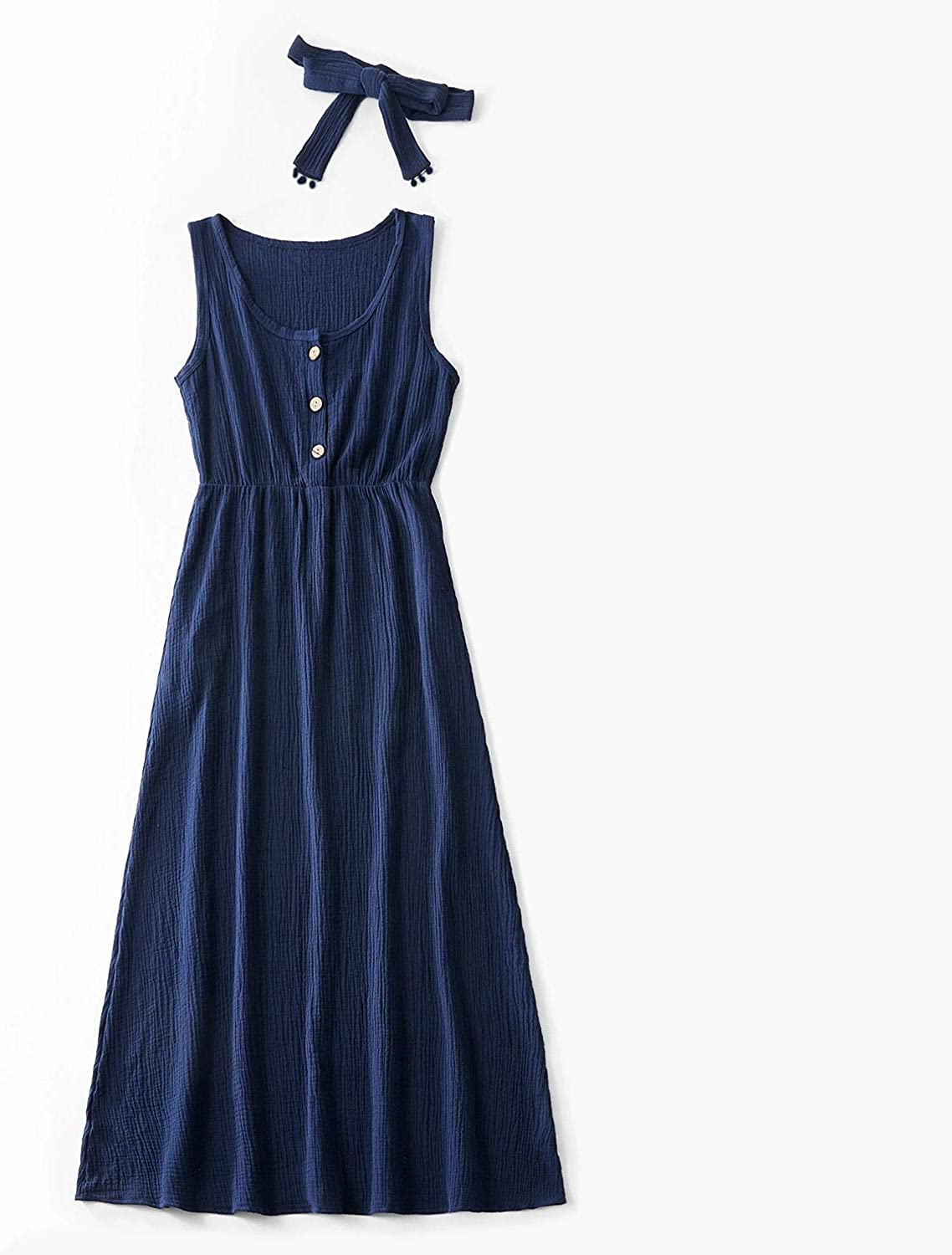 IFFEI Mommy and Me Matching Maxi Dress Sleeveless Summer Casual Cotton Dress with Headband for Mother Daughter