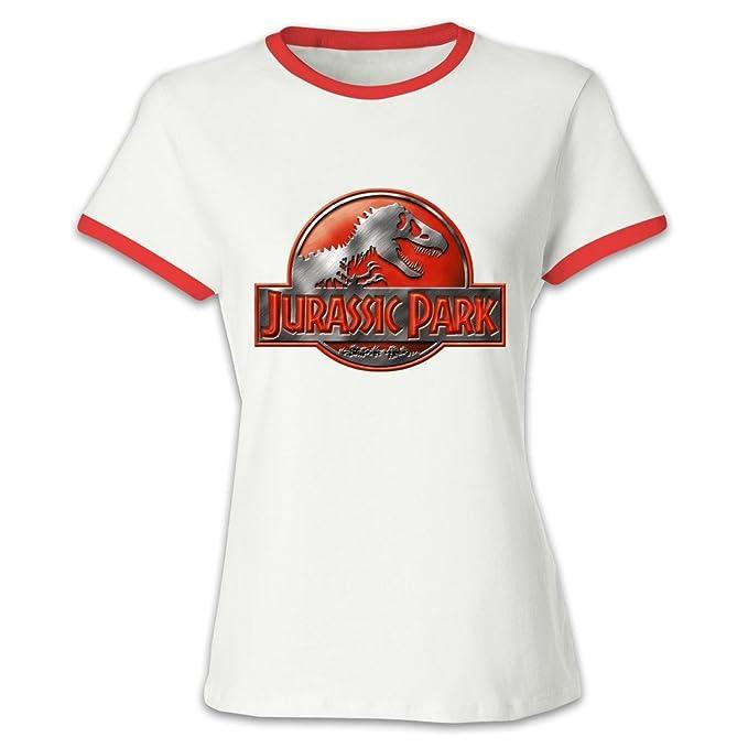 Manga corta JURASSiC PARK logotipo rojo algodón Contraste Color camiseta para mujer: Amazon.es: Ropa y accesorios