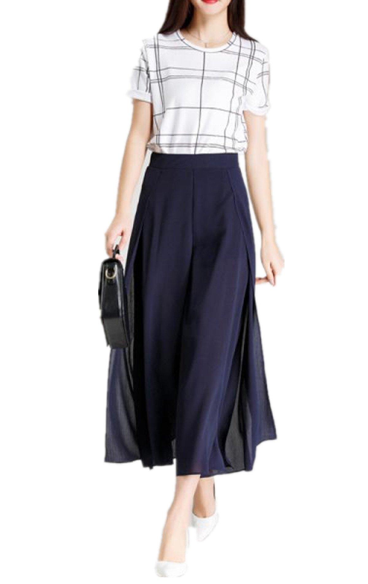 Tengfurich Tengfu Women's Summer Chiffon Chic Capri Wide Leg Palazzo Maxi Skirt Pants Blue