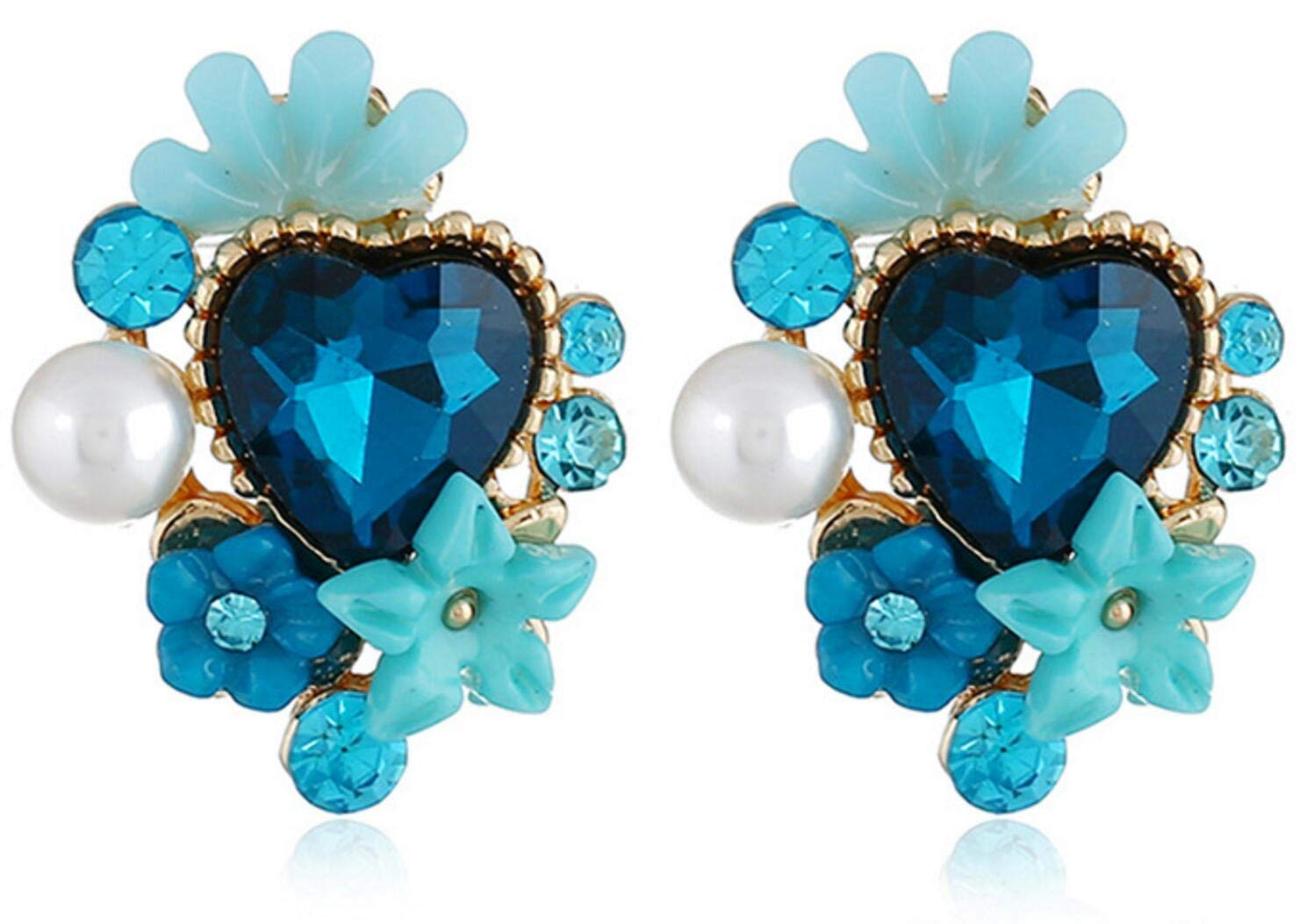 Crystal Five-Leaf Flower Petals Rhinestone Heart-Shaped Earrings (Light Blue)
