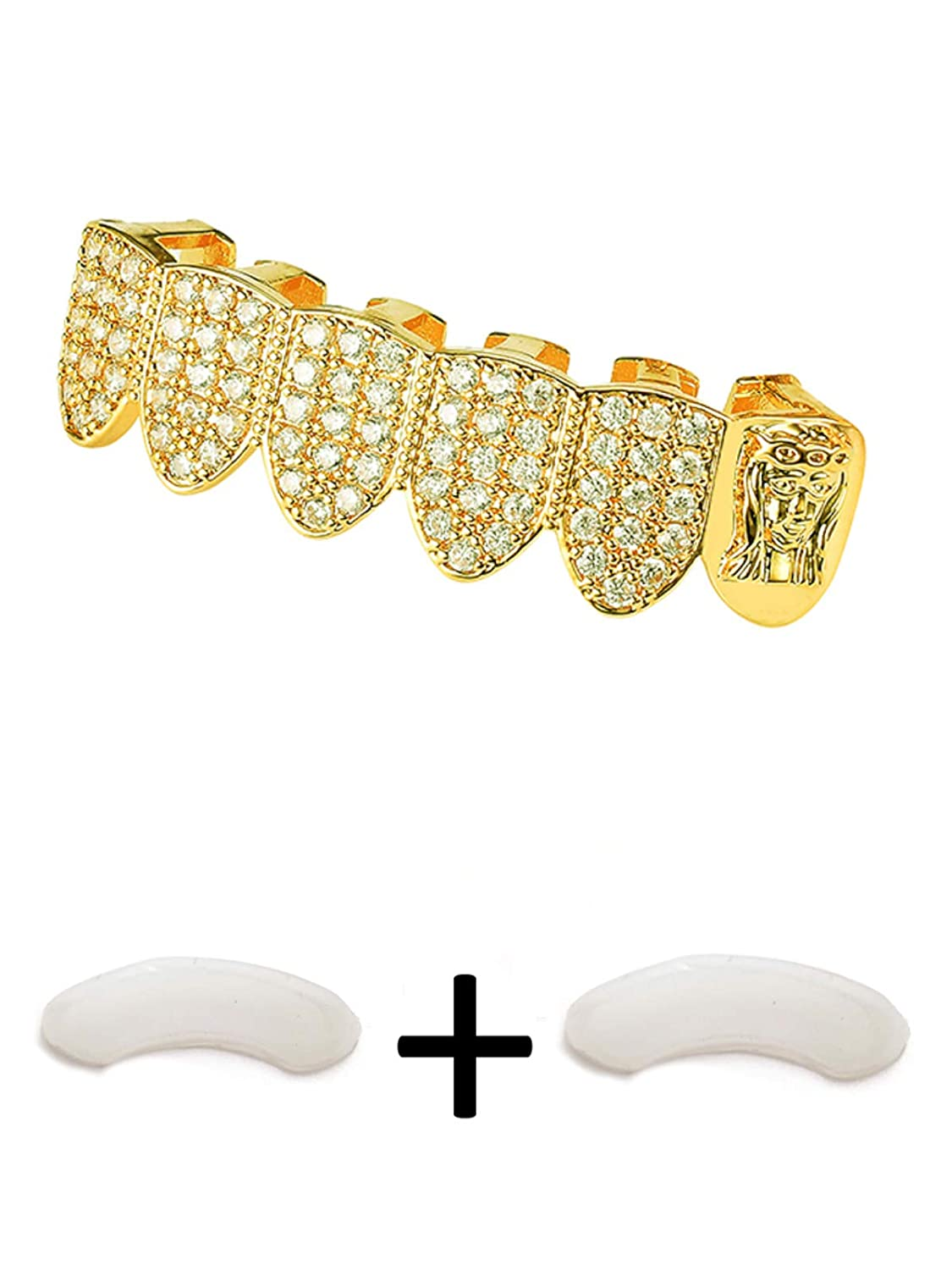 TSANLY Gold Grillz Bottom Jesus Head Iced Out CZ Diamond 24K Kid Grill Christ Portrait Rapper Grills Gift Charly Shop