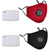 Mibubing 2 Pcs Face Covers with 2 Air Filter Cotton Sheet Washable Reusable Face Protector with Adjustable Straps-Black Red