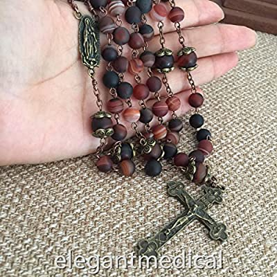 elegantmedical Handmade Details About Natural Carnelian Beads Vintage Catholic Rosary Box Jesus Cross Necklace for Prayer: Arts, Crafts & Sewing