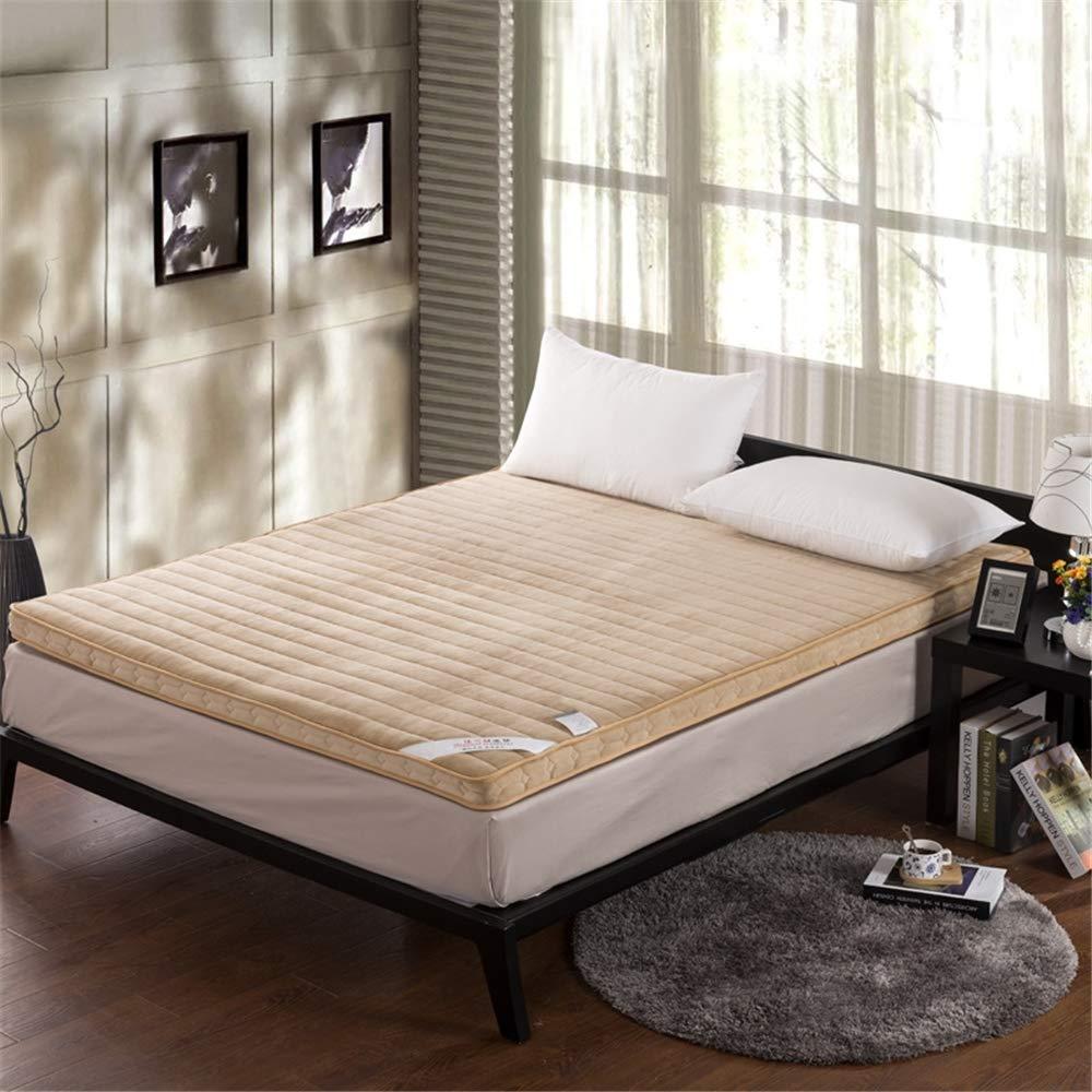 GFYL Coral Velvet Mattress,Thicken Non-Slip Futon, Portable Folding Ultra Soft Mattress Tatami, Single Double Floor Sleeping pad nap for Living Room Dormitory,D,35.5''X79'' by GFYL