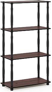 Furinno Turn-N 4-Tier Multipurpose Shelf Display Rack with Classic Tubes, Dark Cherry/Black