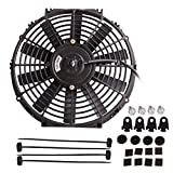 "Automotive : 12"" High Performance Electric Cooling Fan Push Pull Electric Radiator Slim Fan 12V 80W 1730CFM with Mounting Kit (Diameter 11.73"" Depth 2.56"")"