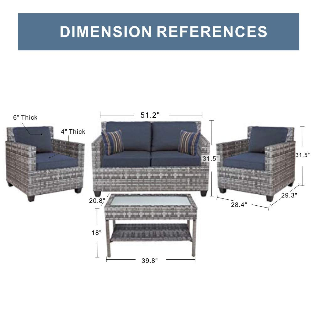Quality Outdoor Living 65-57373 Austin All-Weather Wicker 4 Piece Deep Seating Set, Grey Blue Cushions