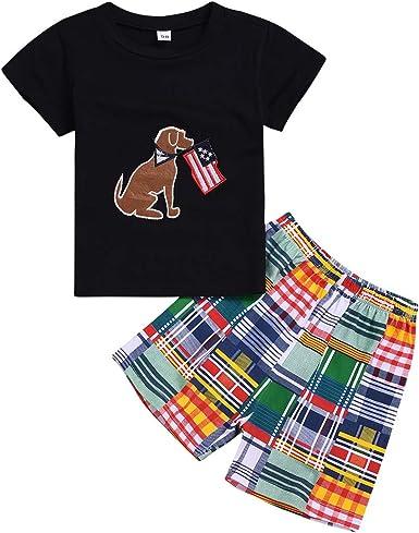 kaiCran Boys Cotton Clothing Sets Long Sleeve Plaid Print Bodysuit and Pants 2 Pieces Clothing Sets
