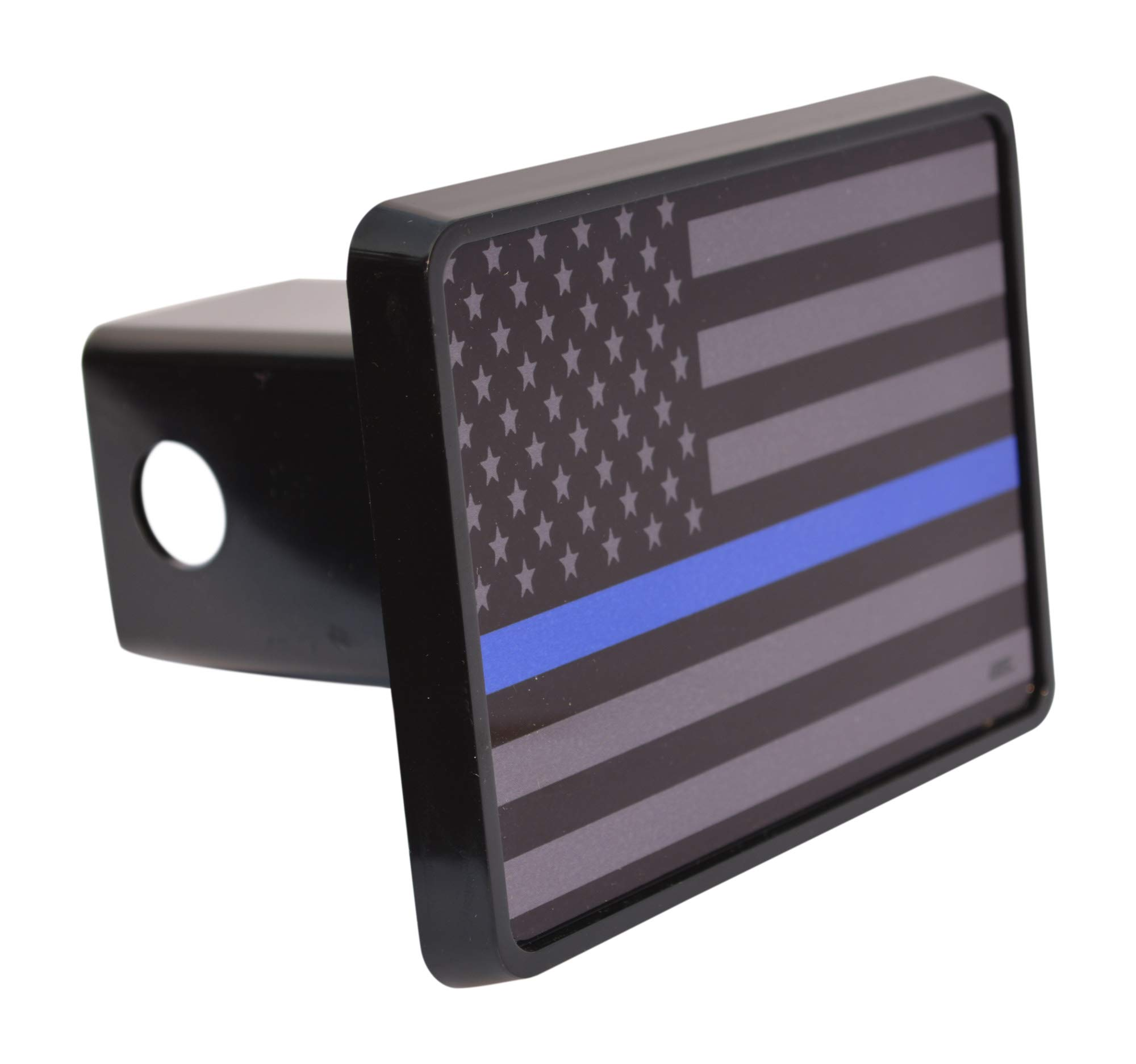 Subdued Thin Blue Line Flag Trailer Hitch Cover Plug US Blue Lives Matter Police Officer Law Enforcement by Rogue River Tactical
