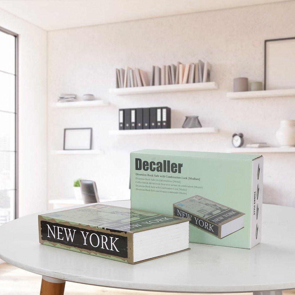 Diversion Book Safe with Combination Lock, Decaller Safe Secret Hidden Metal Lock Box, 9 1/2'' x 6'' x 1 1/3'', New York by Decaller (Image #4)
