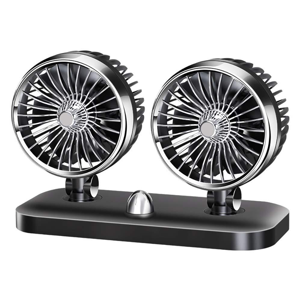 RR-YRC Mini Car Fan, Portable Air Circulator, 360° Adjustable Wind Direction, Low Noise Cigarette Lighter Fan (12V, 24V)