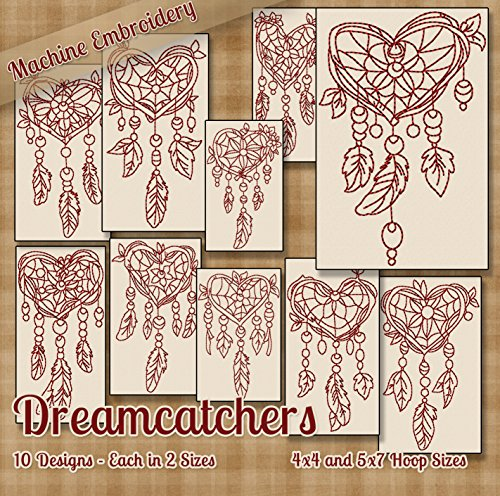 Dreamcatchers Redwork Embroidery Machine Designs on CD - 10 Amazing Outline Style (Outline Embroidery Design)