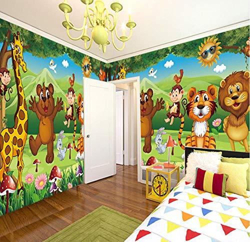 (Aisufen Custom 3D Photo Mural Wallpaper for Kids Room Animal Paradise Cartoon Children House Mural Bedroom Wallpaper Painting-200x100cm )