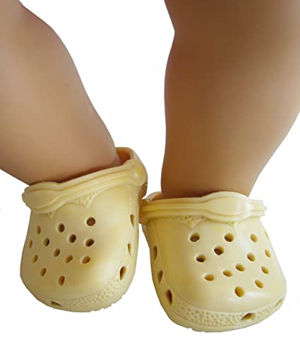 cebfe90a7a2efe Amazon.com  Pale Yellow Kroc Shoes For Bitty Baby by Doll Clothes ...