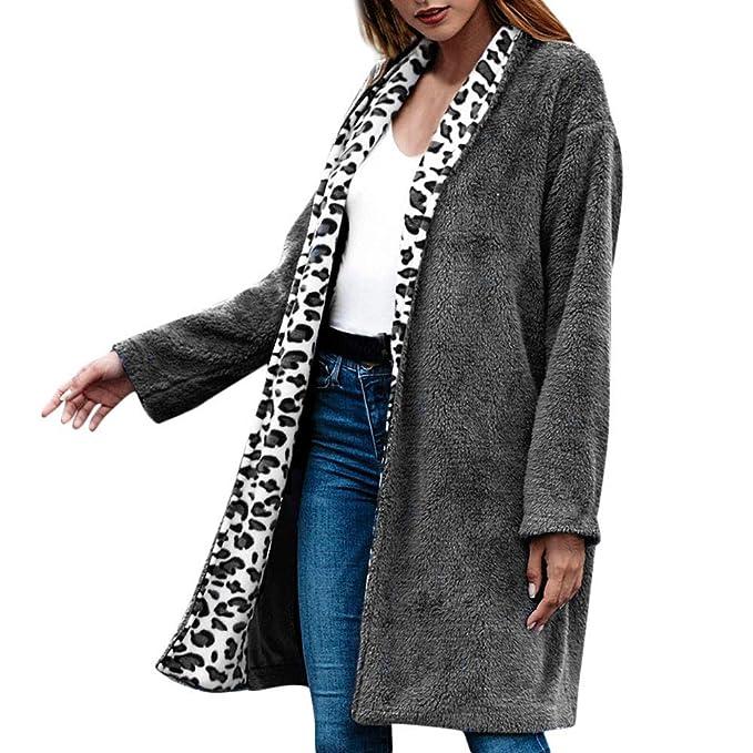 Linlink Mujer Invierno Leopardo Patchwork Chaqueta de Punto ...
