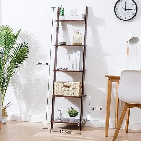 D&LE Bambú Estante De Escalera Librería,5 Niveles Rústico Estantería Librería Estantería Almacenamiento Soporte De Flores De Plantas para Salón Balcón Fácil Montaje Marrón Claro 42.5x32x166cm: Amazon.es: Hogar