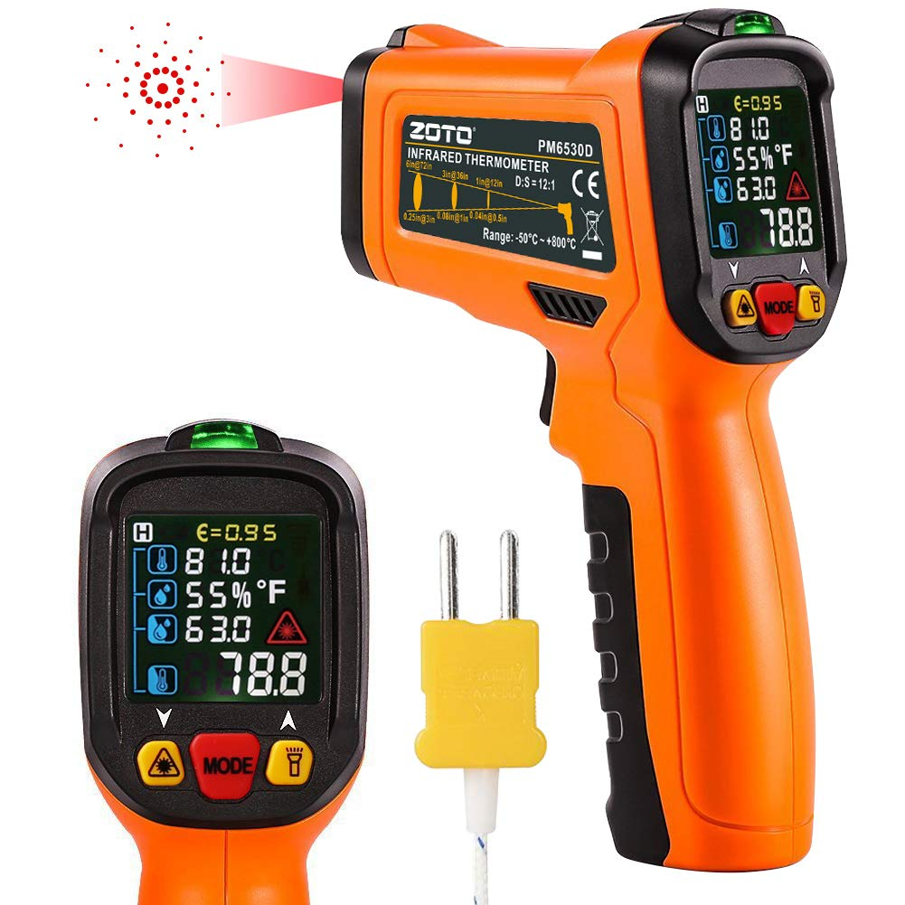 Digital Laser Infrared Thermometer,ZOTO Non Contact Temperature Gun Instant-read -58 ℉to 1472℉with LED Display K-Type Thermocouple for Kitchen Cooking BBQ Automotive and Industrial PM6530D Thermometer by ZOTO (Image #9)