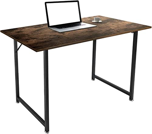 ARCCI Home Office Desk Computer Desk Writing Small Desk 47″ Modern Laptop Table Sturdy Simple Working Desk Black Metal Frame