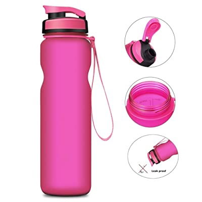 General Sports Water Bottle, 18oz, Leak Proof Lid with One Click Open, Co-Polyester Plastic - Red