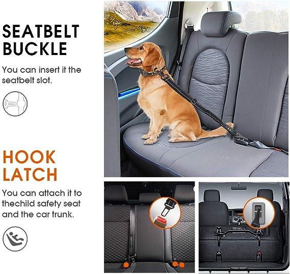 Pyjr Hunde Sicherheitsgurt Anschnallgurt Hund Kofferraum 3 In 1 Hundesicherheitsgurt Mit Elastischer Ruckdämpfung Längenverstellbar Für Alle Hunderassen Autotypen Haustier