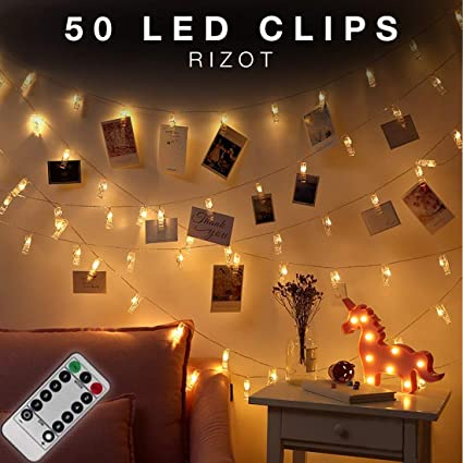 50 Led Photo Clips String Lights With Remote Photo Clips String Lights Led Photo Clip Bedroom Lights Photo Hanging Bedroom Decorations