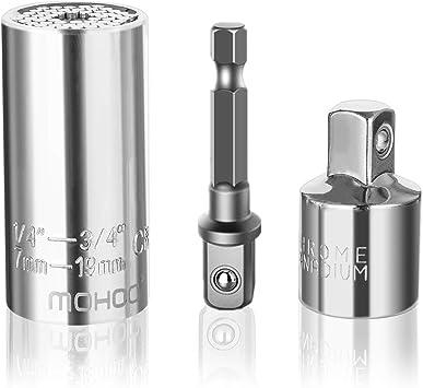 Steckschl/üssel KIRNER/® Universalschl/üssel Universal Nuss Universal-Steckschl/üssel Multi Funktions Handwerkzeuge Reparatur Werkzeuge 7-19mm 7-19mm mit Adapter