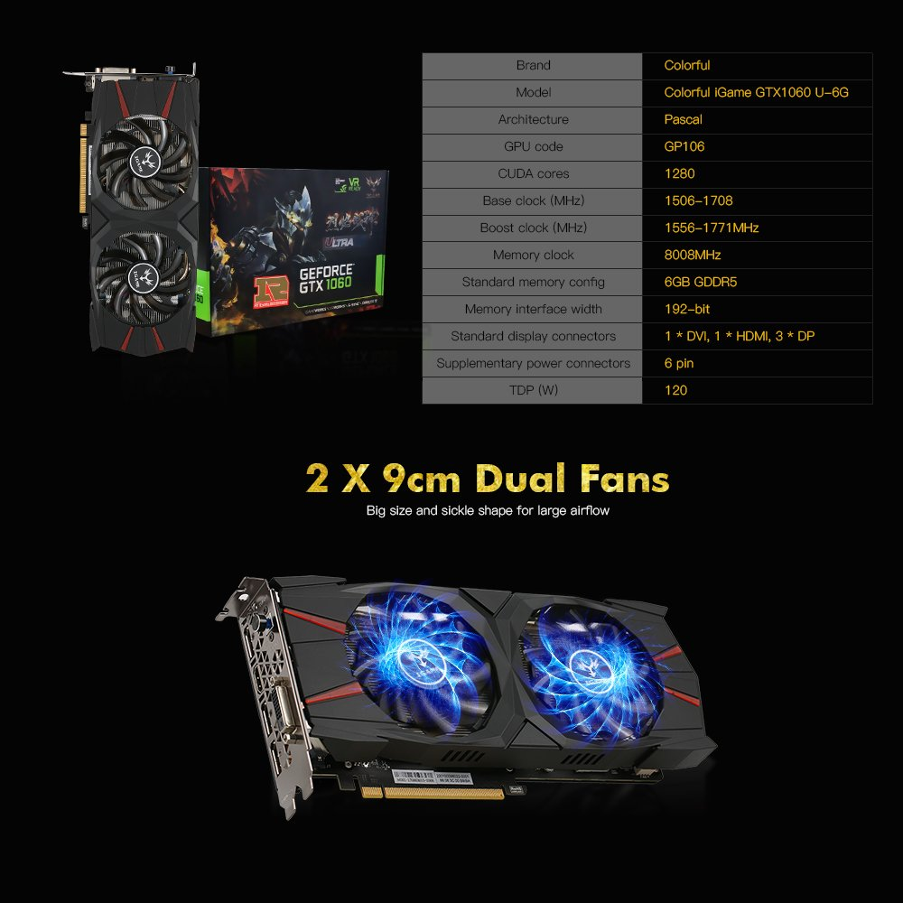 Docooler Colorful iGame GTX1060 Vulcan U 6G Video Graphics Card 1556-1771MHz/8008MHz 6G/192Bit GDDR5 PCI-E 3.0 3*DP+HDMI+DVI: Amazon.es: Electrónica